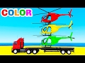 Download Video COLOR HELICOPTER On Truck & Spiderman Cars Cartoon For Kids & Colors For Children W Nursery Rhymes