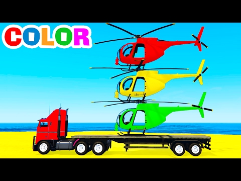 Hình ảnh Youtube -  COLOR HELICOPTER on Truck & Spiderman Cars Cartoon for Kids & Colors for Children w Nursery Rhymes