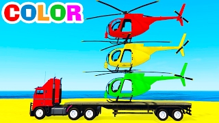 Video COLOR HELICOPTER On Truck & Spiderman Cars Cartoon For Kids & Colors For Children W Nursery Rhymes