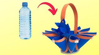DIY Making Candy Basket With Plastic Bottle // Best out of waste plastic bottle basket // Linh's Art