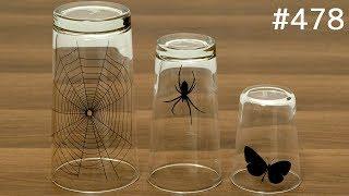重ねると蝶がクモの巣にかかるグラス / glass with a trick. butterfly and spider glass set