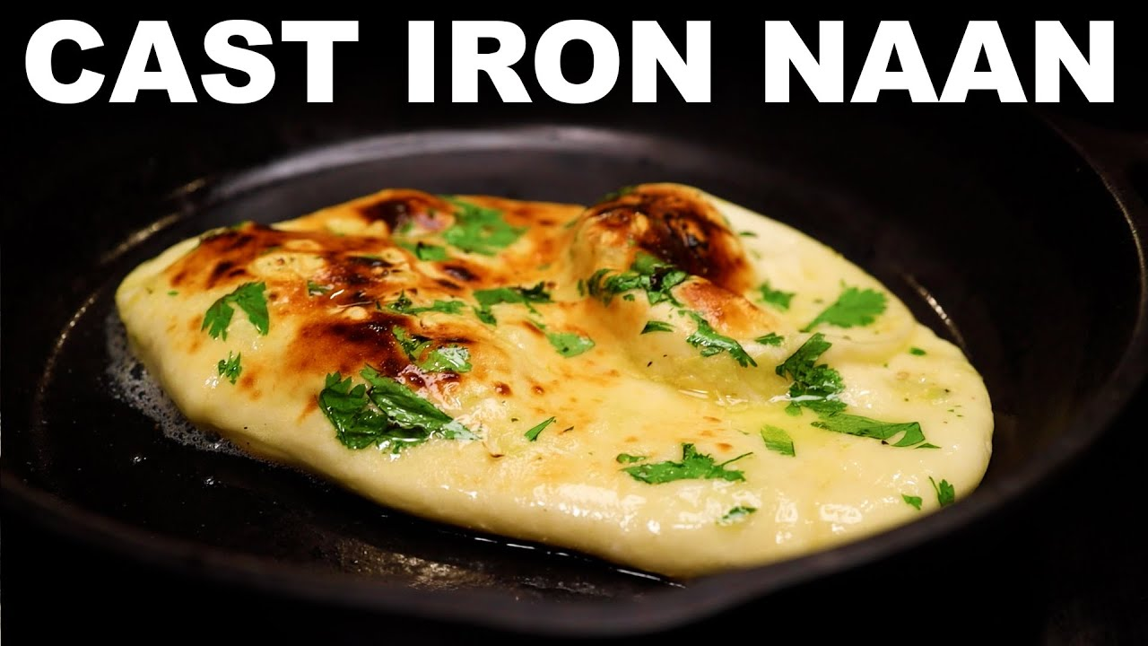Garlic naan in a cast iron skillet tawa-style