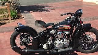 1937 Harley Davidson Knucklehead Bobber Start Up - hmong.video