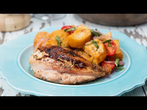 Ricotta-Stuffed Chicken Breasts With Tomato Panzanella