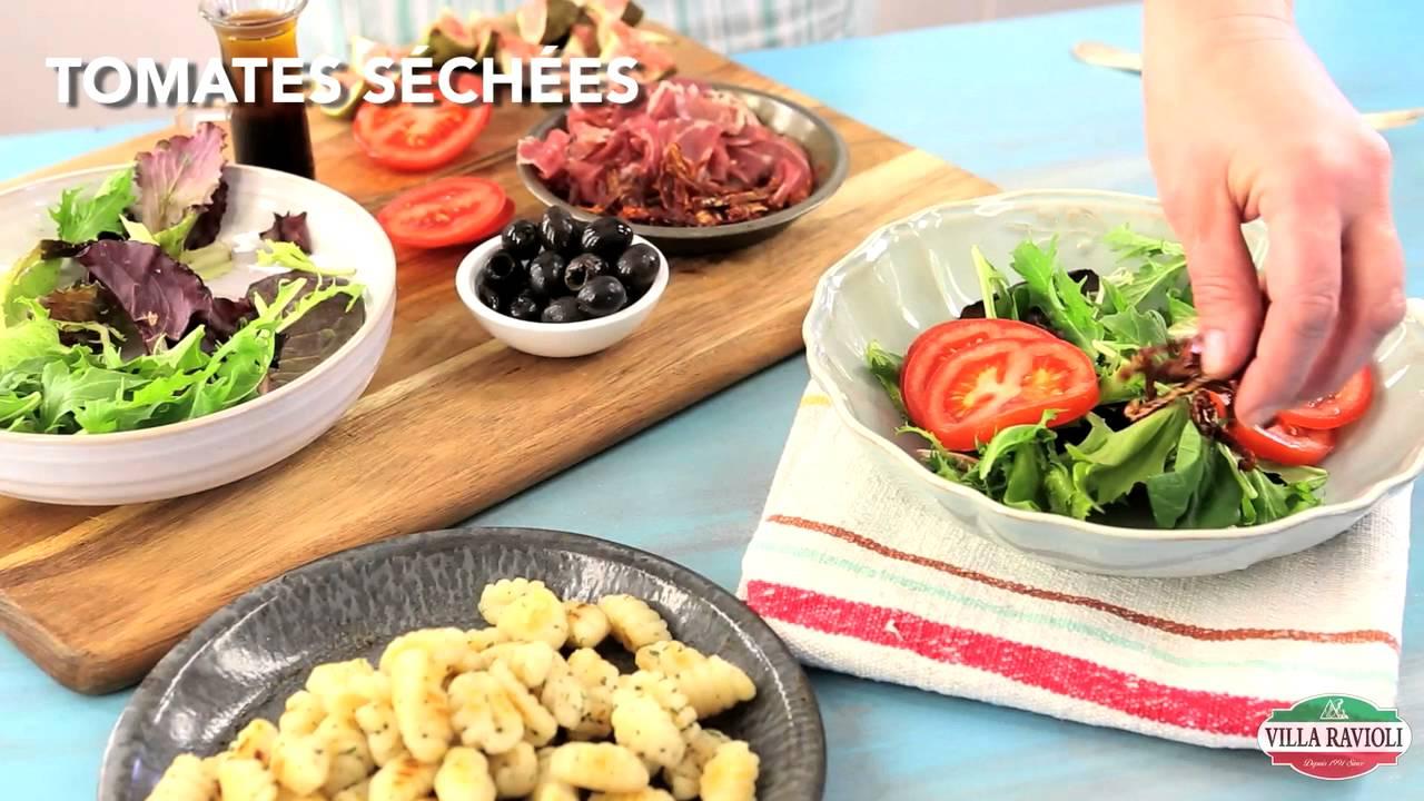 Salade de mesclun aux gnocchis poêlés