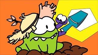Раскраска с Ам Нямом - Червивое яблоко - Учим цвета  - Развивающее видео для детей