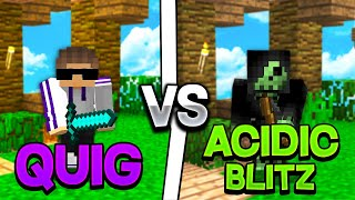 QUIG VS. ACIDICBLITZZ YOUTUBER 1v1 BET | Hypixel Skywars