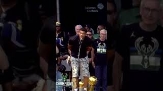 """Giannis """"we did it Milwaukee, we did it!"""" 🗣🏆   #Shorts"""