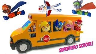 Paw Patrol Rides School Bus to Superhero Super Pup School Wheels on the Bus Song
