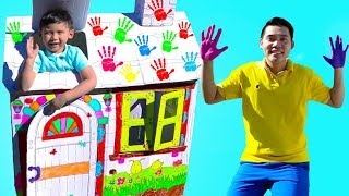 Liam Pretend Play Build Playhouse & Coloring w/ Markers and Paint for Kids