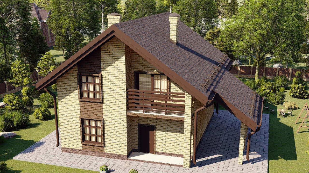 Проект двухэтажного дома с небольшим навесом