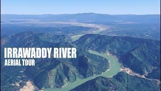 Aerial view of the Irrawaddy River ဧရာဝတီမြစ် Myanmar (Burma) || Mali Kha River || N'Mai River