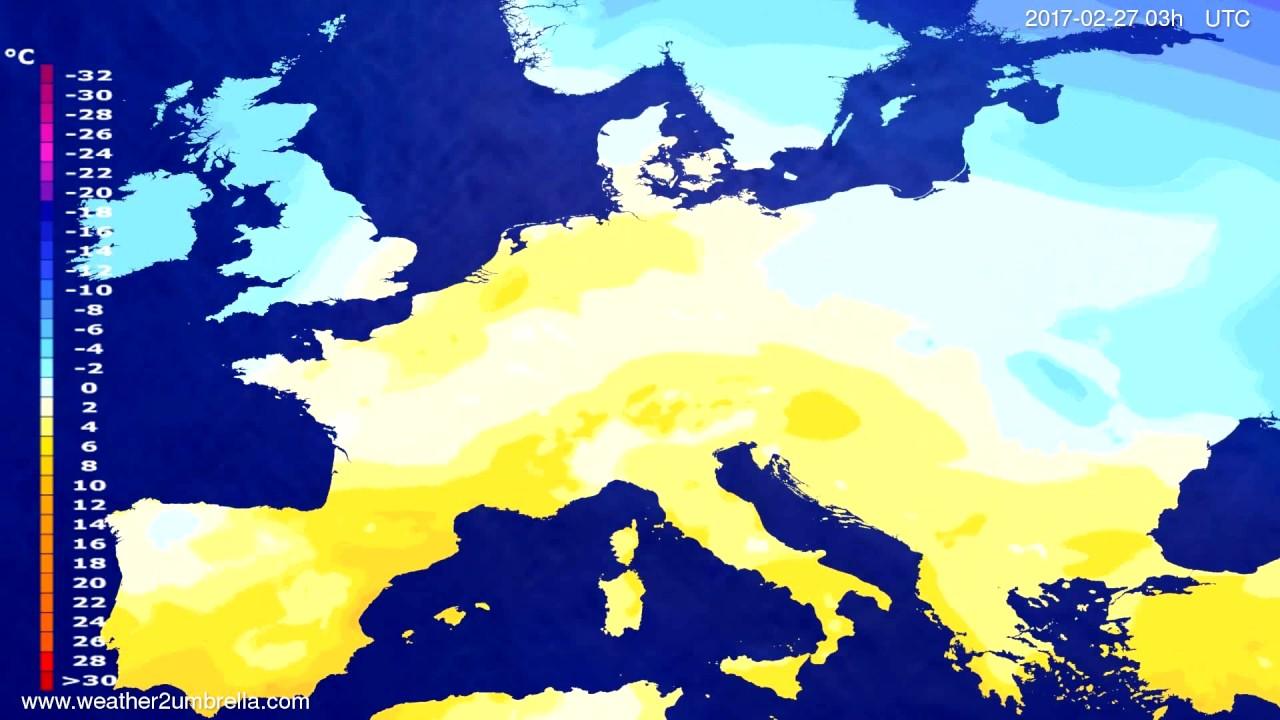 Temperature forecast Europe 2017-02-24