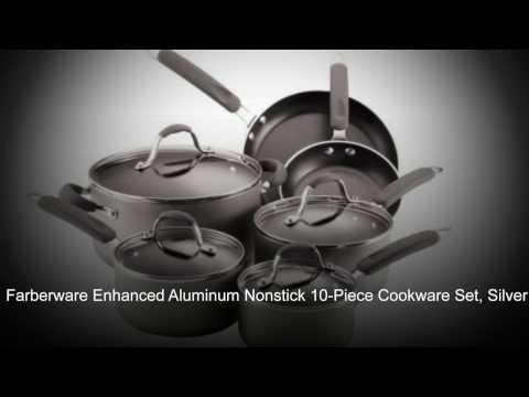 Farberware Enhanced Aluminum Nonstick 10 Piece Cookware Set, Silver