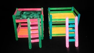 How To Make Popsicle Stick Bed | Diy Bunk Beds For Kids (Toys) | Popsicle Stick Crafts