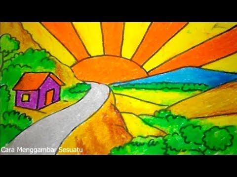 Cara Menggambar Pemandangan Bukit Dan Pelangi Belajar Mewarnai Youtube Cute766
