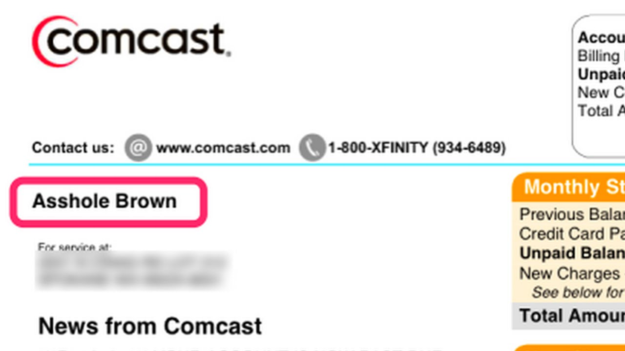 "Comcast Renames Disgruntled Customer ""Asshole Brown"" thumbnail"