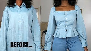 DIY Square Neck Peplum Top | Mens Shirt Refashion