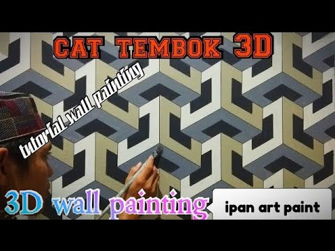 Cat tembok 3D- 3D wall painting- tutorial cat tembok 3D