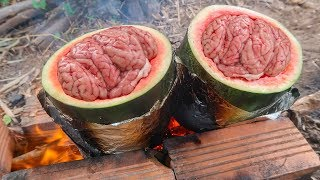 Óc Heo Hầm Trong Trái Dưa Hấu - Cooking and Eating Pig Brain in Watermelon