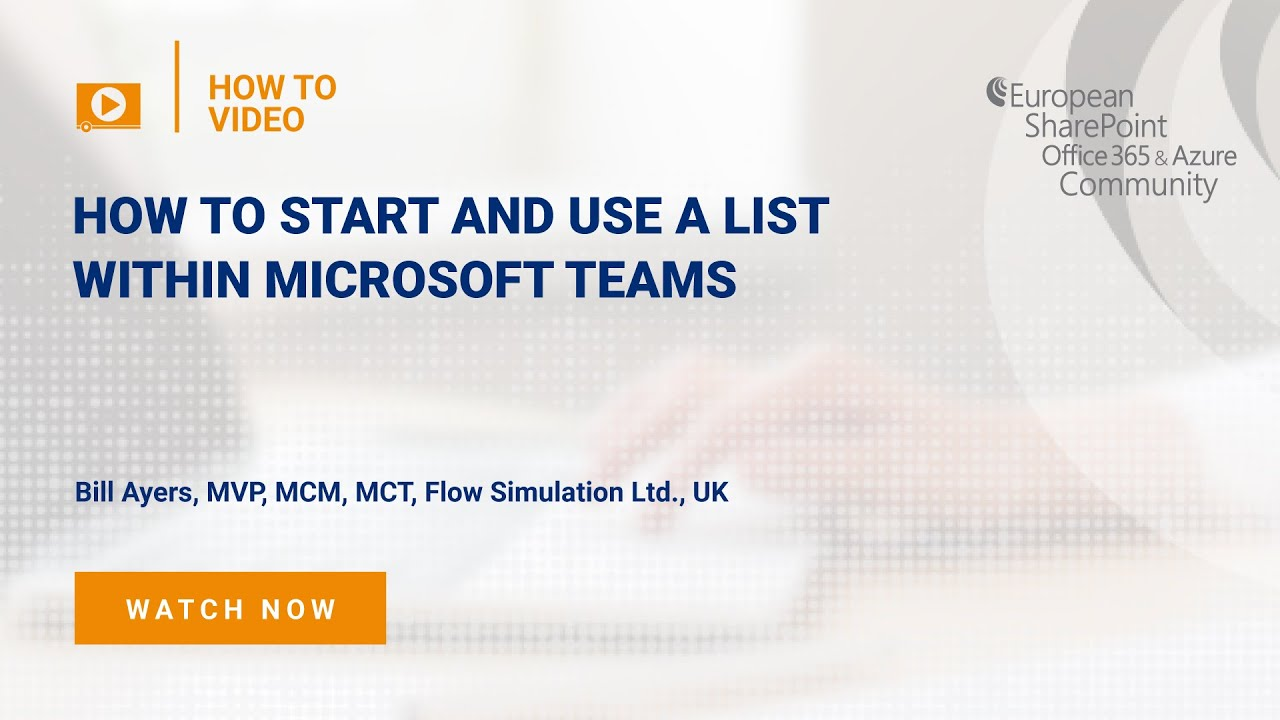 How To Start and Use a List within Microsoft Teams