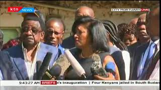 Nairobi Women Rep Esther Passaris addresses mourners at City Mortuary