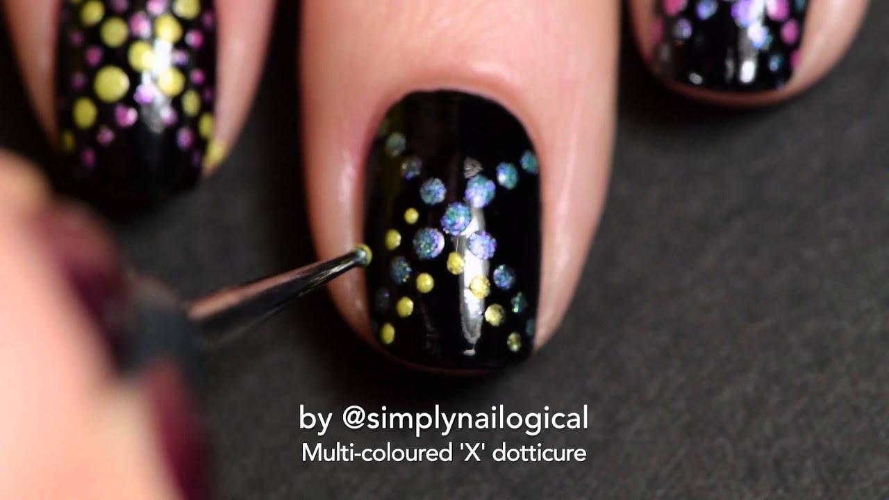 Multi-coloured 'X' dotticure nail art thumbnail