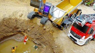 Excavator, Dump Truck, Fire Vehicles Car Toys Activity