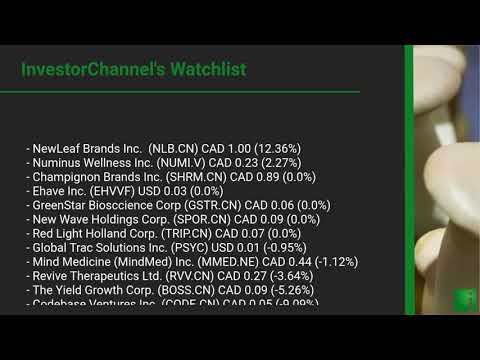 InvestorChannel's Psychedelics Watchlist Update for Thursday, September 17, 2020, 16:30 EST