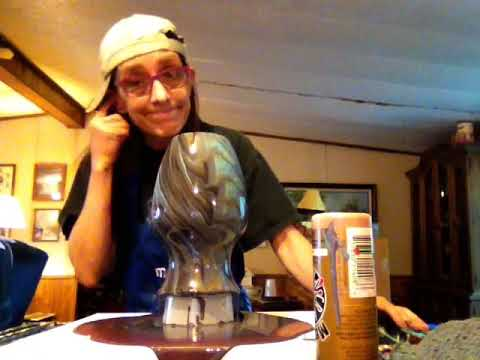 Tree Ring Pour (sort of) Over Vase & Canvas: Discussing Paint Boogers & Update On Dave.
