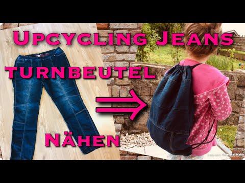 Upcycling Idee Jeans Hose Rucksack Turnbeutel Kinder ohne Schnittmuster nähen Kleidung DIY Anfänger
