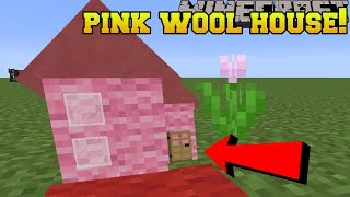 Minecraft: LIVE INSIDE PINK WOOL!! (REAL PINK WOOL HOUSE BLOCK!) Custom Command