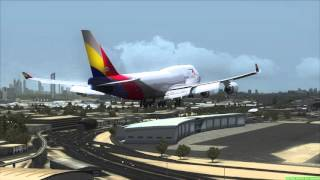 ASIANA CARGO Boeing 747-400 landing in Dubai (FSX)