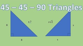 Geometry Examples - 45-45-90 Triangles (With Simplified Radical Form)
