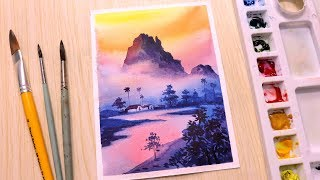 Watercolor painting for beginners mountain landscape easy