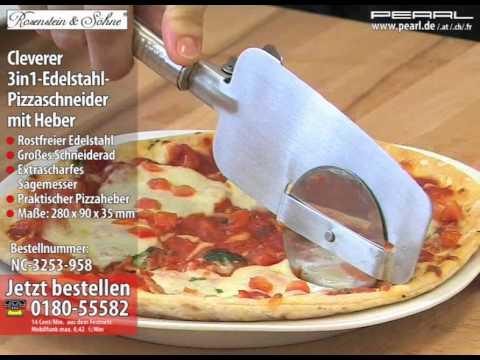 Rosenstein & Söhne Cleverer 3in1-Edelstahl-Pizzaschneider mit Heber