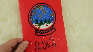 DIY 3D Christmas snow globe card! with moving items inside! ❄️⛄