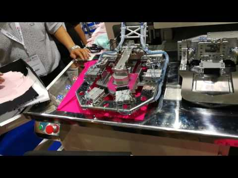 RAMBO Automatic pocket setter testing Lycra fabrics during GFT2017 Bangkok Thailand