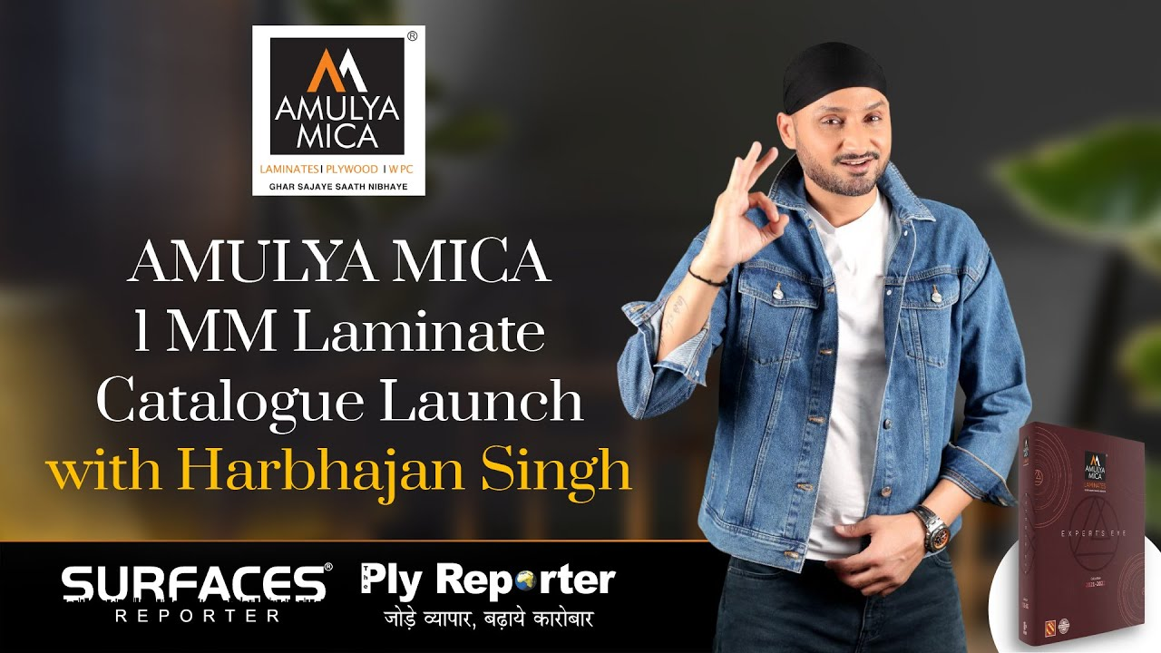 Cricketer Harbhajan Singh Unveiled Amulya Mica 1MM catalogue 2021 | Launched in association with Surfaces Reporter