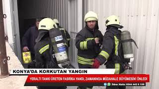 Konya'da yer altı tankı üretilen fabrikada yangın çıktı