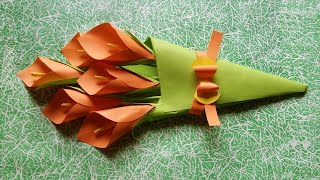 Easy Paper Flower Bouquet | Calla Lily Bouquet For Kids | DIY Craft