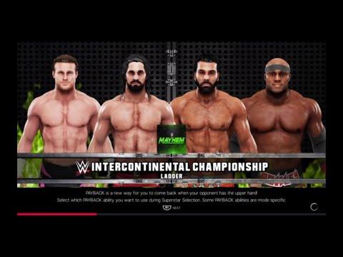 WWE 2K19 Bobby Lashley VS Dolph,Rollins,Jinder Fatal 4-Way Ladder Match Intercontinental Title