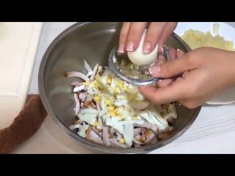 Салат с Яйцом и  Ананасом и Копченой курицей . Майонез Сметанный . Что приготовить на Обед