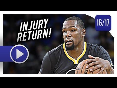 Kevin Durant Full Highlights vs Pelicans (2017.04.08) - 16 Pts, 10 Reb, Injury Return!