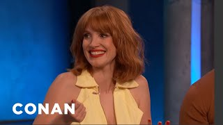 Jessica Chastain Was Immersed In 4,500 Gallons Of Fake Blood - CONAN On TBS