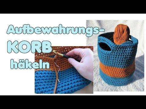 Aufbewahrungskorb häkeln, Korb Häkelanleitung Textilgarn