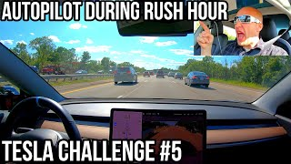Can Autopilot Drive Me Home in HEAVY Rush Hour Traffic?! | TESLA CHALLENGE #5 | Update 2019.28.2 |