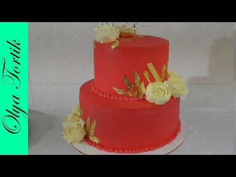 Как собрать и украсить торт с розами