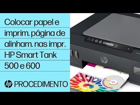 Como colocar papel e imprimir uma página de alinhamento nas impressoras HP Smart Tank séries 500 e 600