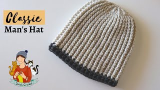 Crochet  Classic Mens Hat / Beanie Tutorial